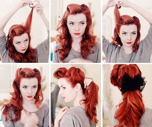 Fabulous 40s Hair Tutorials Pinup Hair Tutorial Hair Styles Retro Ponytail
