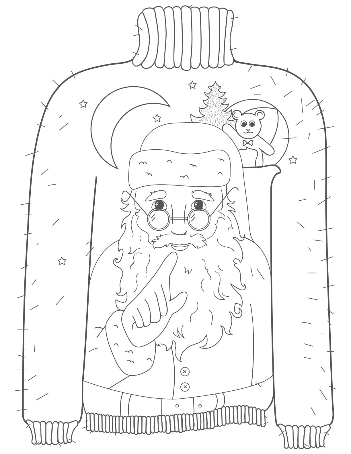 whispering santa ugly christmas sweater coloring page how ugly