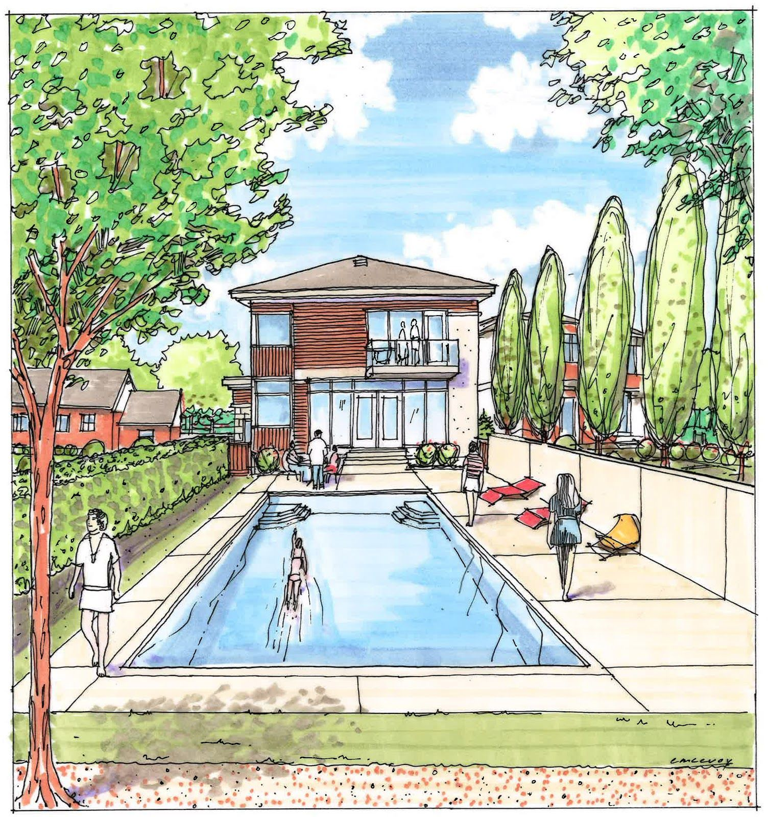 Landscaping design drawings google search dwell for Landscape design sketches