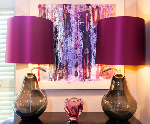 Porta romana pear lamps with fuchsia pink satin lampshades with biddy hodgkinson artwork