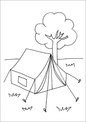 Camping Tent Printable Coloring Page, free to download and