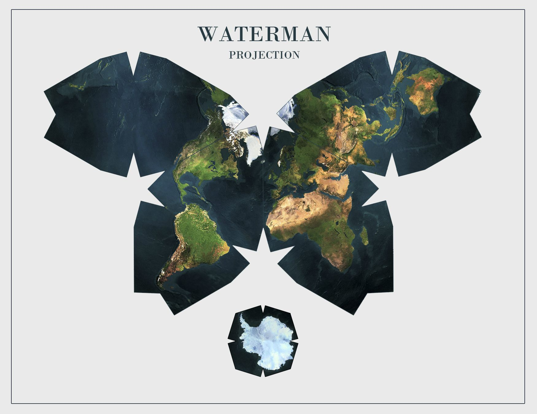 Waterman butterfly geography and life pinterest butterfly dymaxion map showing the near contiguity of earths continents r gumiabroncs Choice Image