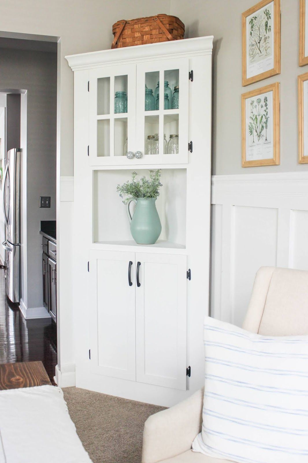 Diy Farmhouse Corner Cabinet In 2020 Dining Room Corner Corner Cabinet Dining Room Corner Cabinet