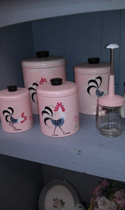 Cute Rooster Canisters at Wrenhaven Vintage Market