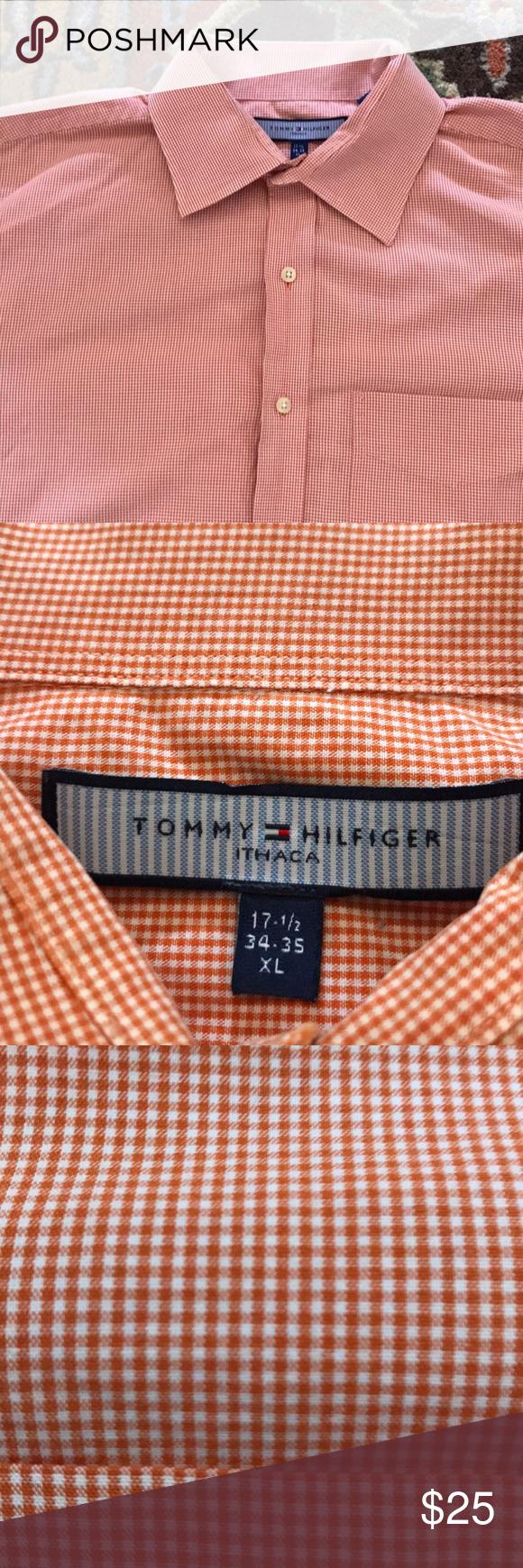 Men S Tommy Hilfiger Dress Shirt Burnt Orange Tangerine Cotton Dress Shirt The Print Is A Small Gingham Check W Tommy Hilfiger Dress Shirt Shirt Dress Shirts [ 1740 x 580 Pixel ]