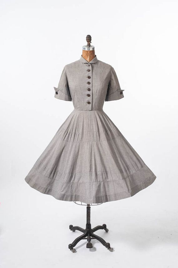 1f08e2ae600 1950s Wide Skirt Shirtdress  Vintage 50s Cotton Dress