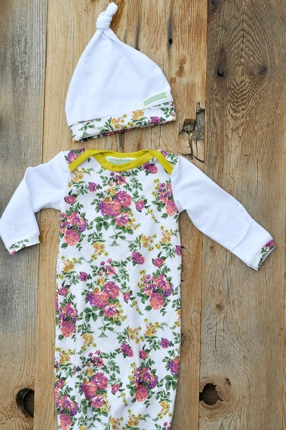 FLORAL BABY GOWN Newborn Take Home Outfit with Knot Hat Set ...