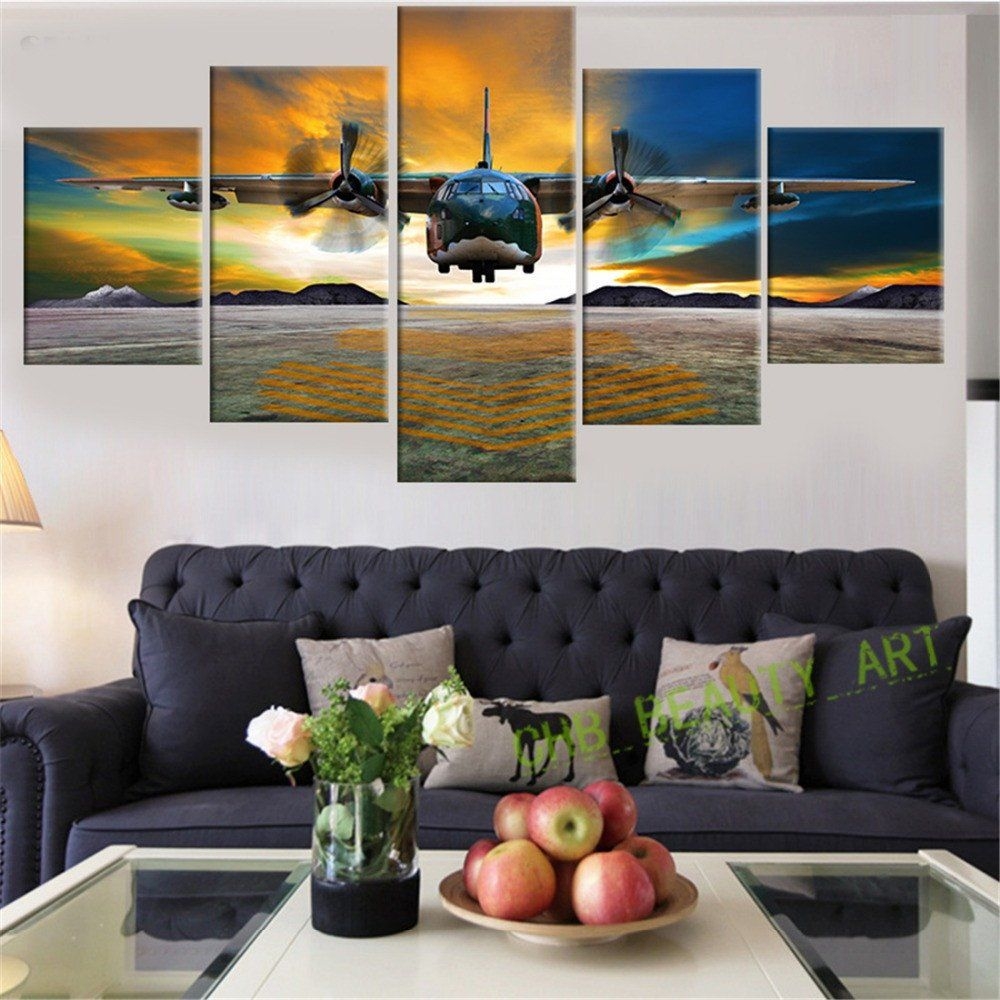 Painting Of Living Room 5 Piece Printed Airplane Landscape Group Canvas Painting Wall