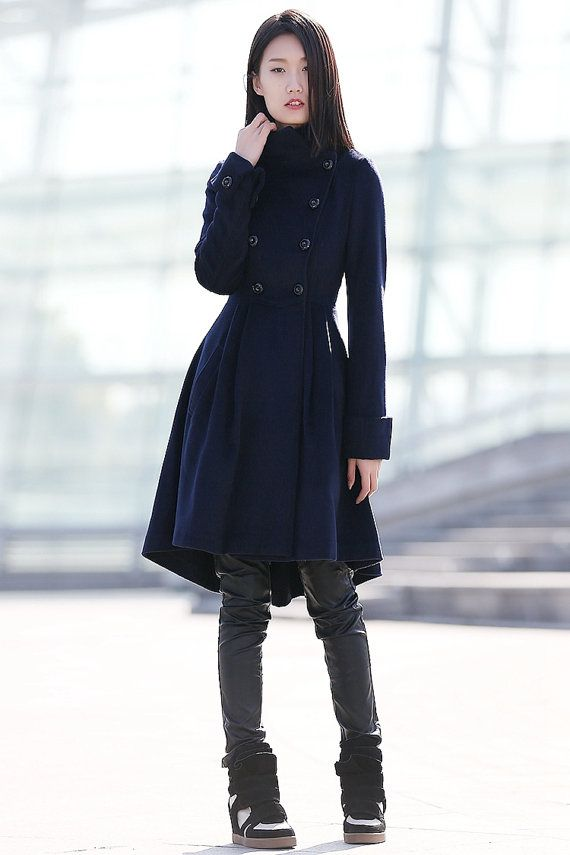 Navy Blue coat winter coats for women C164 by YL1dress on Etsy ...