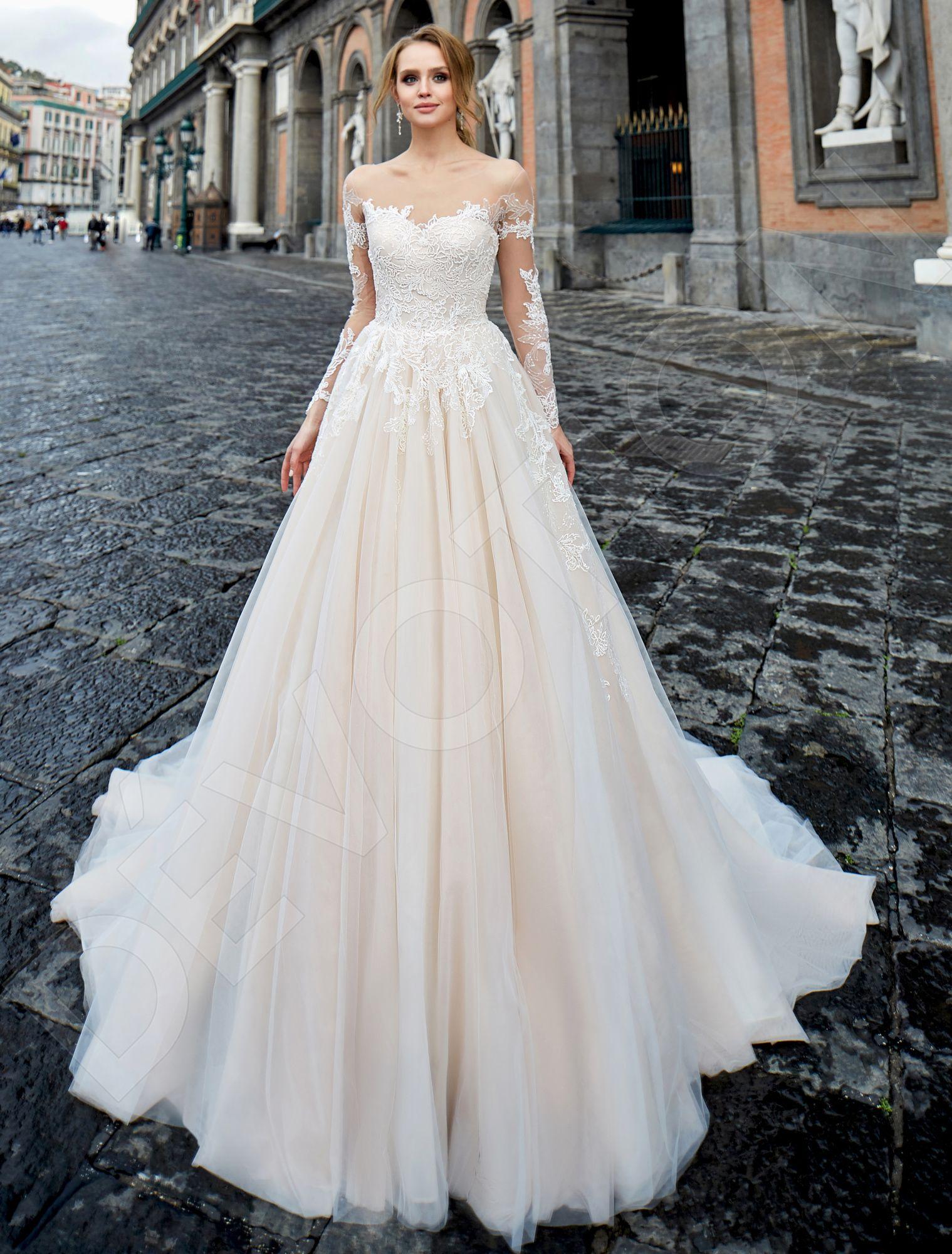 Nansia Classic Tulle Wedding dress Nude / Powder | Devotiondresses.com
