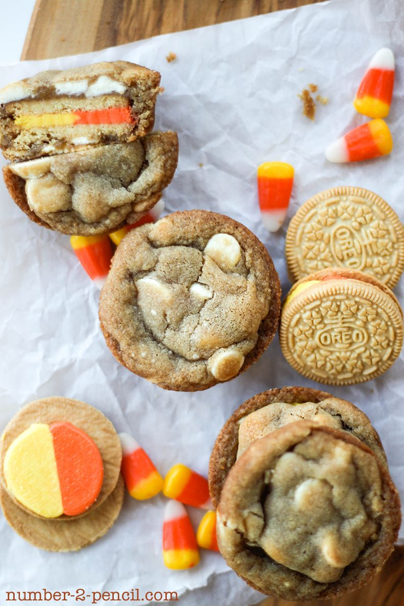 OH. MY. GOODNESS!!! Candy Corn Oreo Stuffed White Chocolate Chip Cookies!