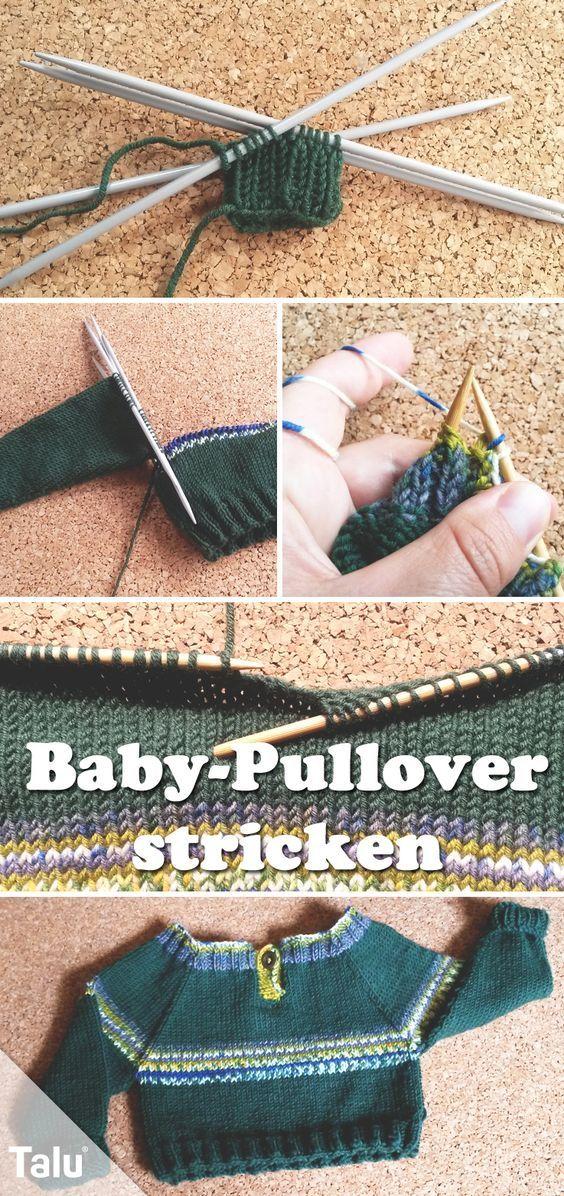 Süßen Baby-Pullover stricken - Anleitung für Größen 56-86 | Baby ...