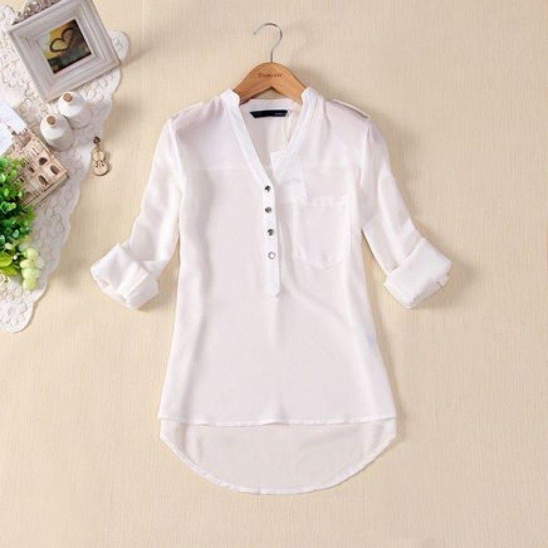 54a5d6c741 Blusa de Seda (Feminina Social Branca Preta Basica) Blusas M10156 Mais