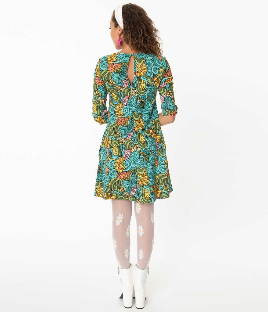 Smak Parlour Groovy Floral Cosmic Shift Dress Unique Dresses Mod Fashion Vintage Fashion 1960s [ 1023 x 879 Pixel ]