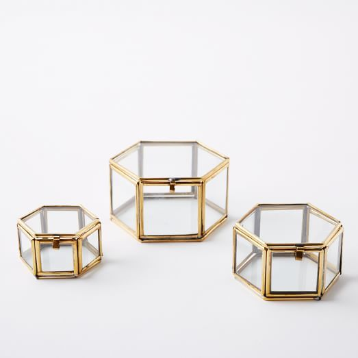 Nesting Trinket Boxes Set Of 3 In 2020 Glass Shadow Box Glass Jewelry Box Jewelry Organizer Box