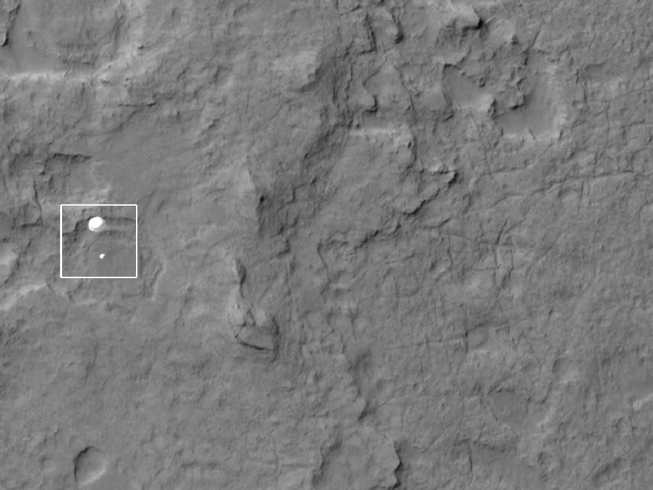 NASA - Curiosity Spotted on Parachute by Orbiter