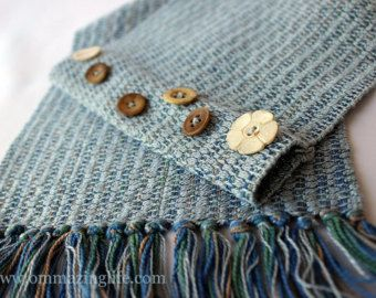 Handwoven Funky Scarf tied or buttoned to keep it in place! Great idea for how to keep your scarf on your neck.