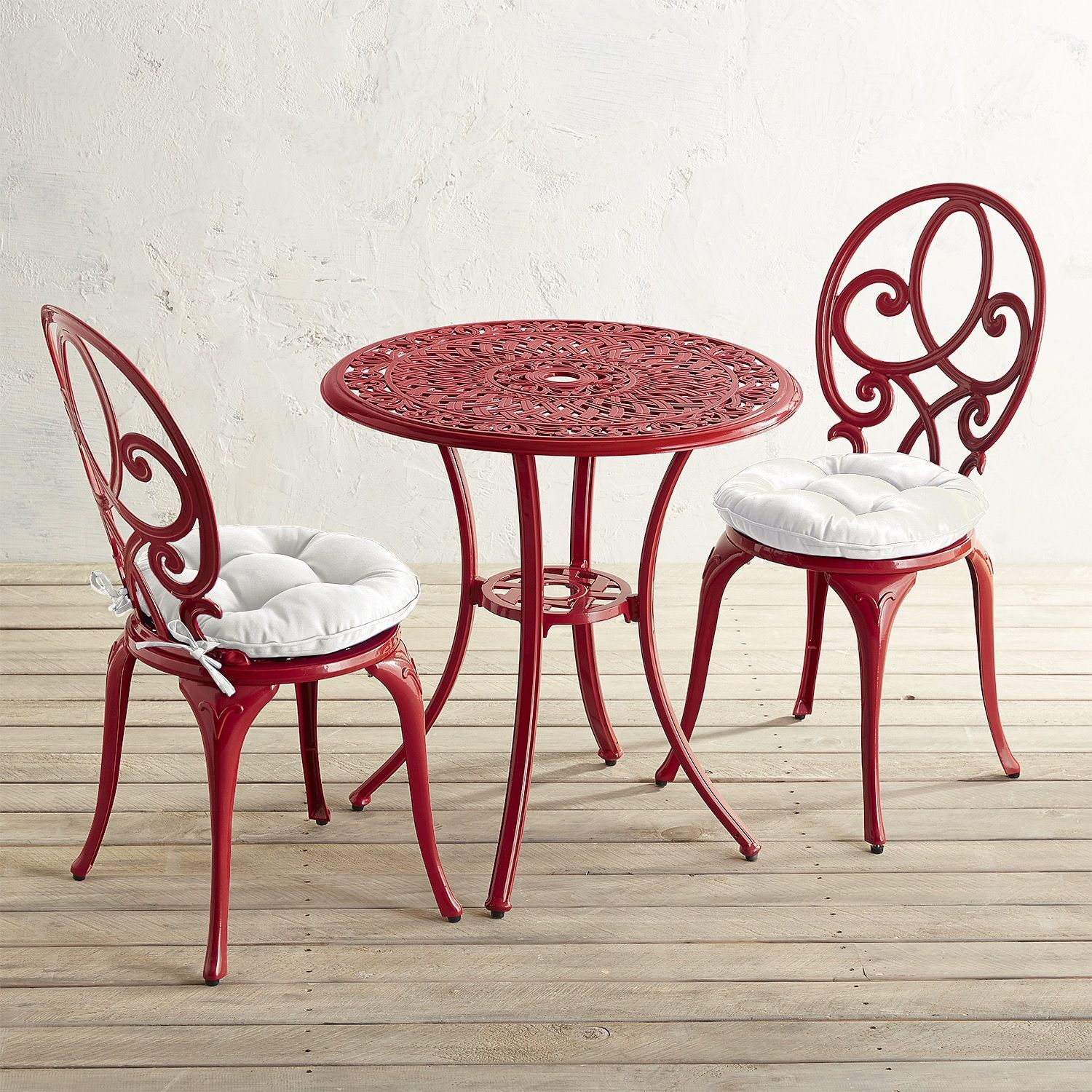 Dahlia Red Cast Aluminum Bistro Set Bistro Set Patio Furniture