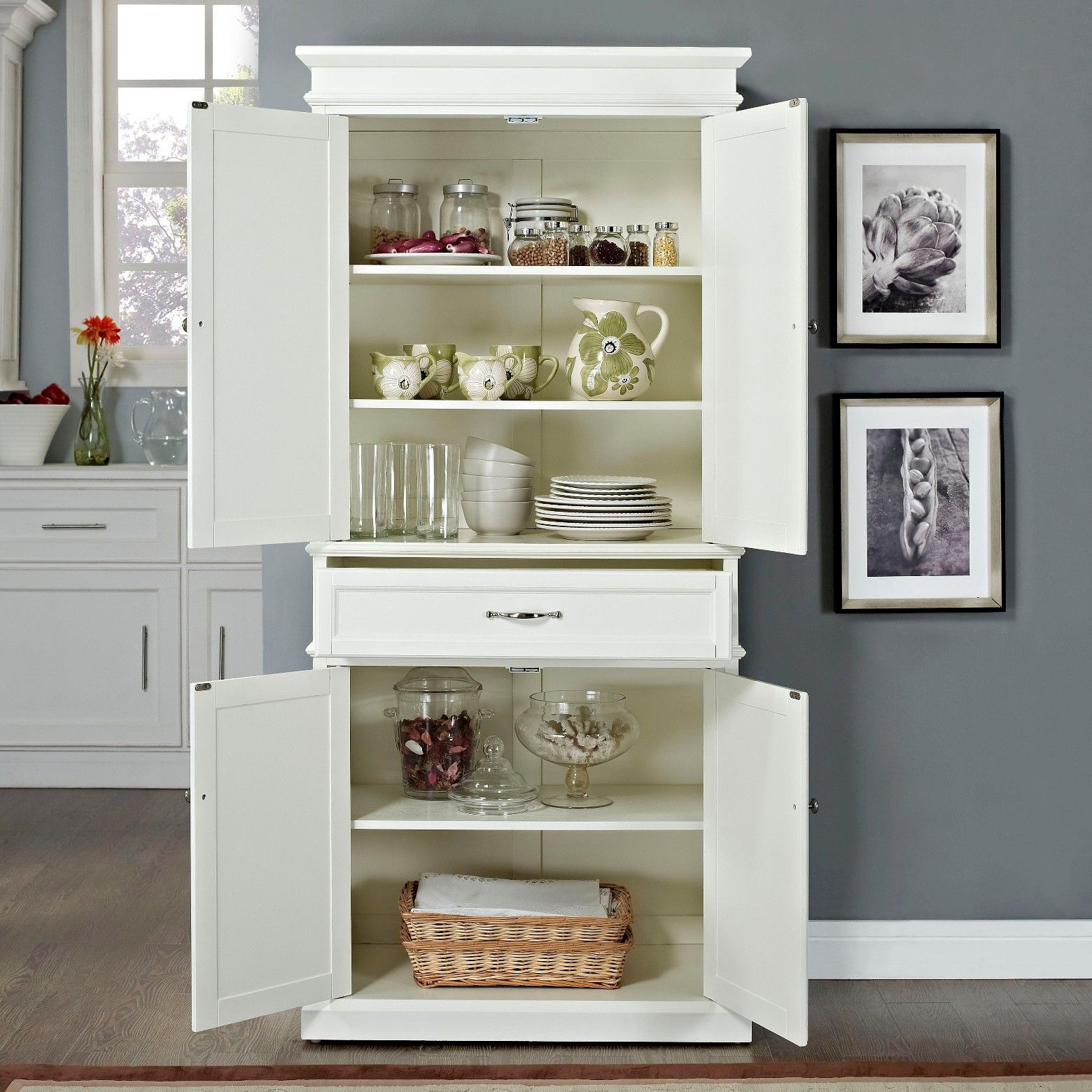 Parsons Pantry Storage Wood White Crosley White Storage Cabinets White Kitchen Pantry Kitchen Pantry Cabinets