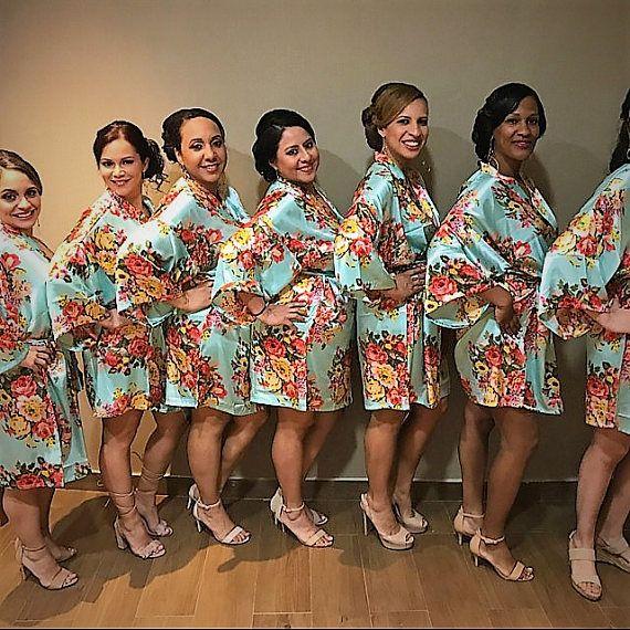 Fl Satin Bridal Robes Silk Robe Dressing Gown Bridesmaid
