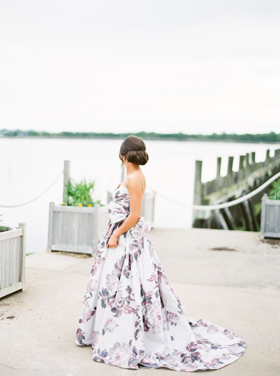Floral print wedding dresses  The Bride Designed Her Own Floral Print Wedding Dress  Colorful