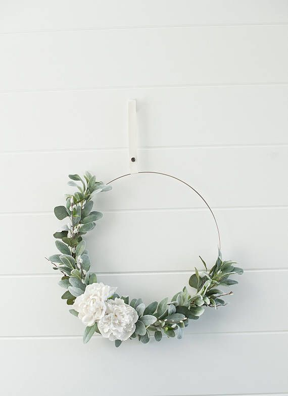 Modern Spring Peony Blooms Branches Wreathspring Etsy Wreath Wall Decor Spring Door Wreaths Modern Wreath