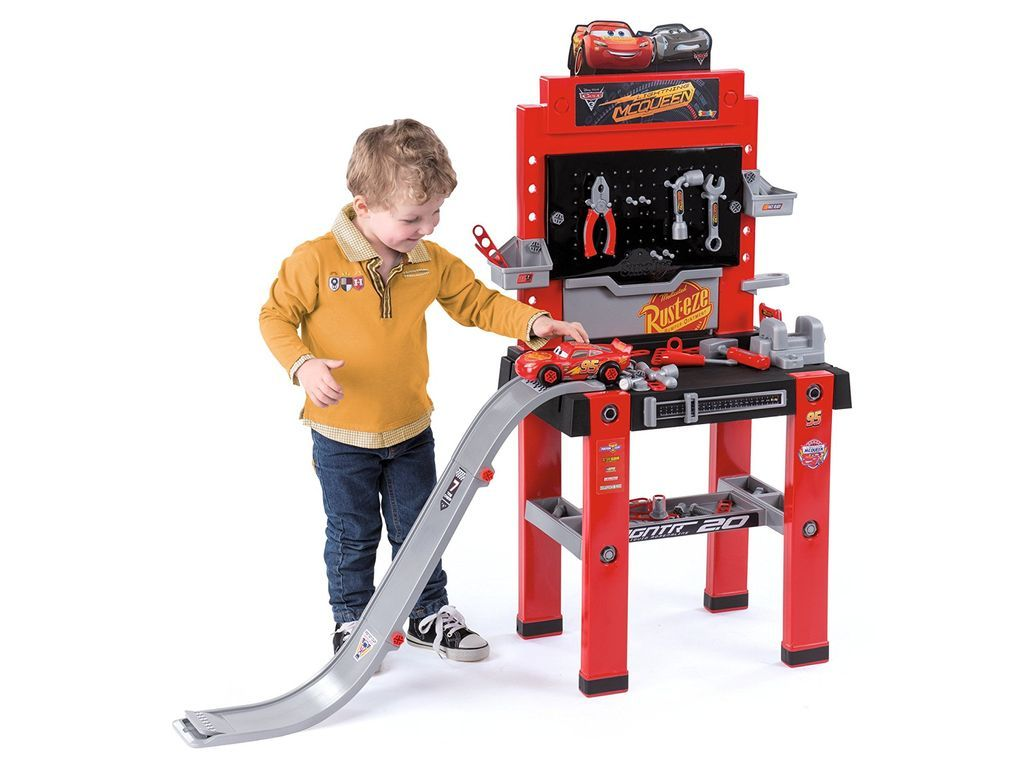 Banco Di Lavoro Giocattolo Smoby : Smoby disney cars workbench with ski jumping hill toys video