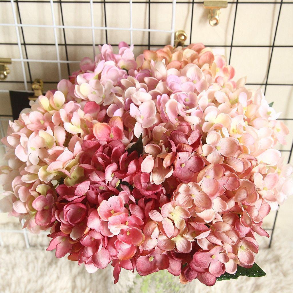 Silk Artificial Hydrangea Flowers Wedding Decoration For Home Garden Real Touch Artificial In 2020 Artificial Hydrangea Flowers Fake Flowers Artificial Hydrangeas
