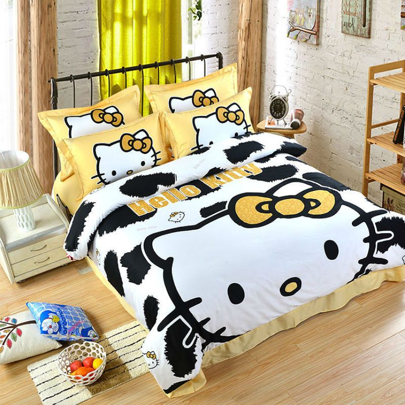 Hello Kitty Leopard Pattern Queen Size Double Bed Sheet 4pc Cotton