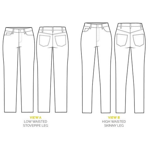 Ginger Jeans pattern // Technical flats // Skinny jeans sewing ...