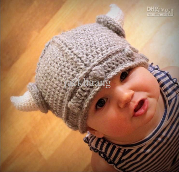 Crochet Lael Viking Hat Children s knitted hats Beanie Boy Girl Baby  Acrylic hat 1-3 years old baby 05892ffca17