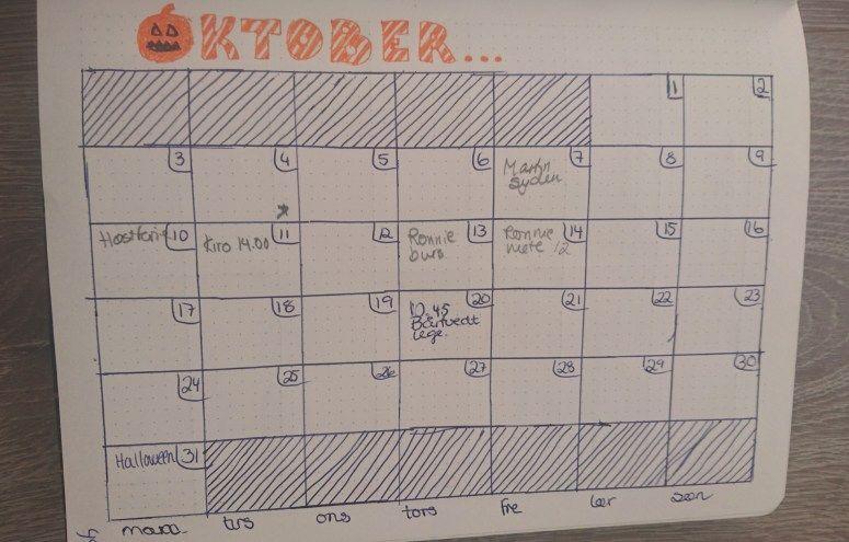 """""""Dette er en kalender over hele måneden som jeg bruker både for å ha oversikt over hvilke datoer som er når, men også lett planlegging som jeg ikke må glemme."""""""