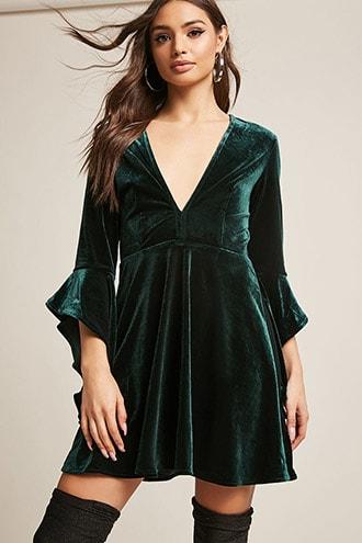 Velvet Ruffle Dress | Bell sleeve dress outfit, Womens