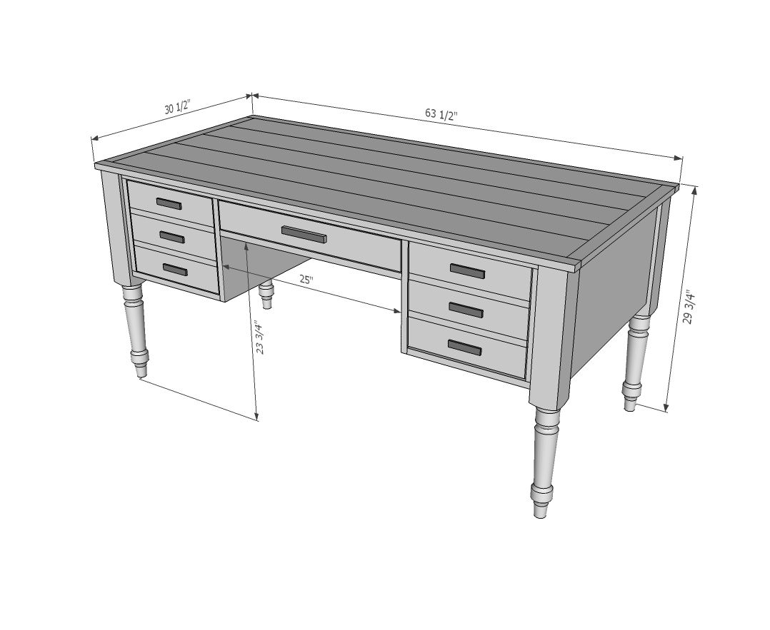 Writing Table Plans Ana White Build A Turned Leg Traditional Desk Free And