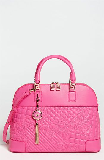 Versace Vanitas Embroidered Leather Satchel Available At Nordstrom Pink Fashion Shoes