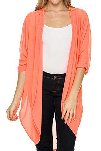 Iconic Luxe Womens OpenFront Longline Chiffon Cardigan Medium ...