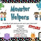 This is a set of 63 jobs in a Monster theme that your students might have in your classroom. There is a header that you can put above the cards.   ...