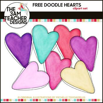 Happy Valentines Day from ME!! This set includes 7 free hand-drawn ...