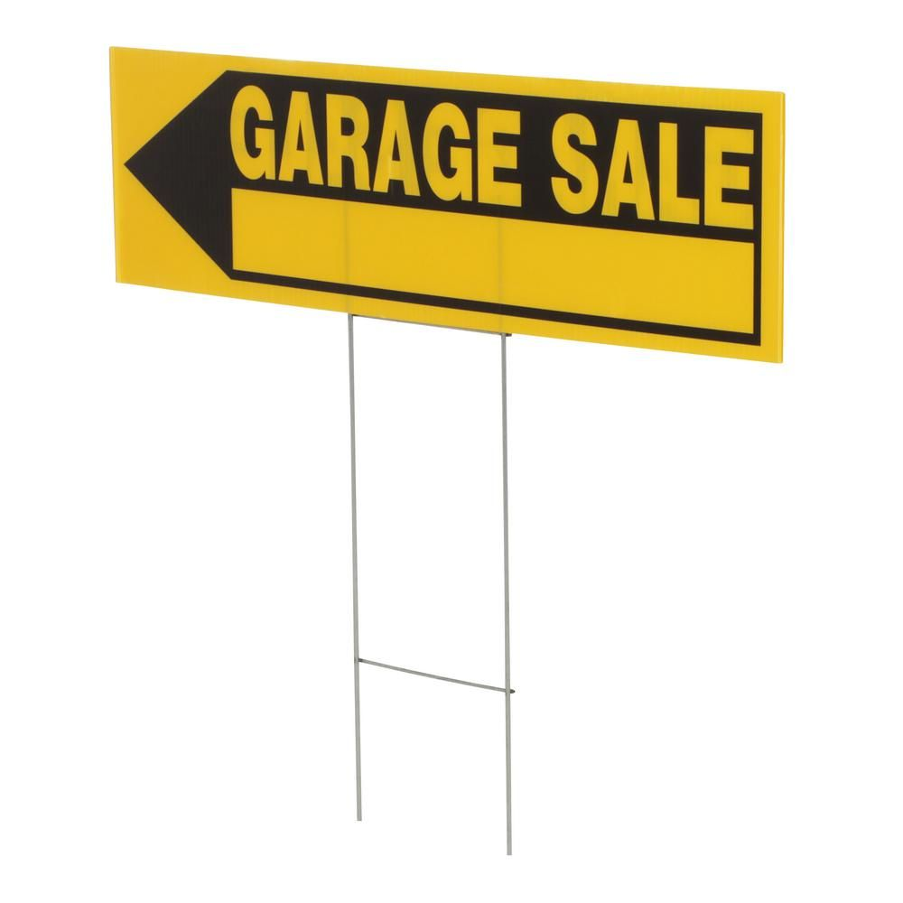 Everbilt 6 In X 24 In Corrugated Plastic Garage Sale Sign 31594 The Home Depot Garage Sale Signs For Sale Sign Yard Sale Signs