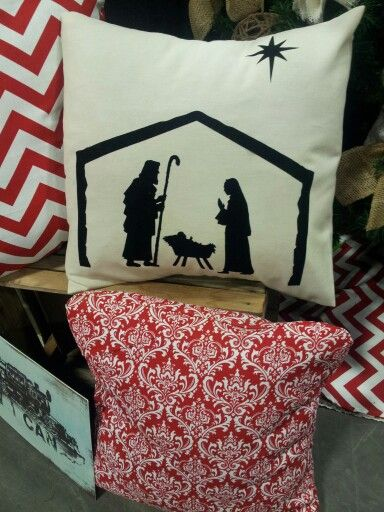 Christmas nativity pillow with heat transfer vinyl!