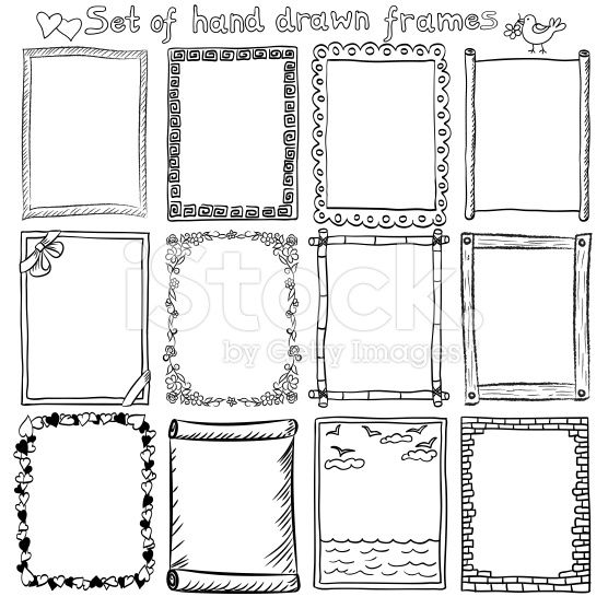 Decorative Doodle Frames And Borders Doodle Frames Bullet Journal Frames Drawing Frames