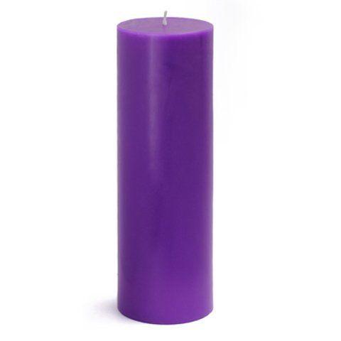 3 X 9 Purple Pillar Candle By Zest Candle 11 49 Size 3 Diameter X 9 H Burn Time 110 Hour Pillar Candles Purple Pillar Candles Unscented Pillar Candles