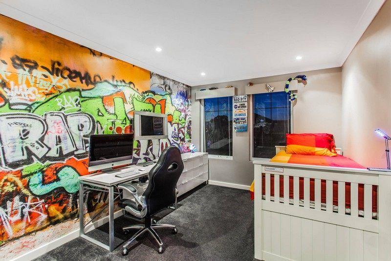 Graffiti Wandgestaltung | Graffiti Fotowand Im Kinderzimmer Originell Und Modern