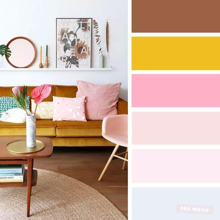 The Best Living Room Color Schemes – Grey + pink & mustard Color Palette images