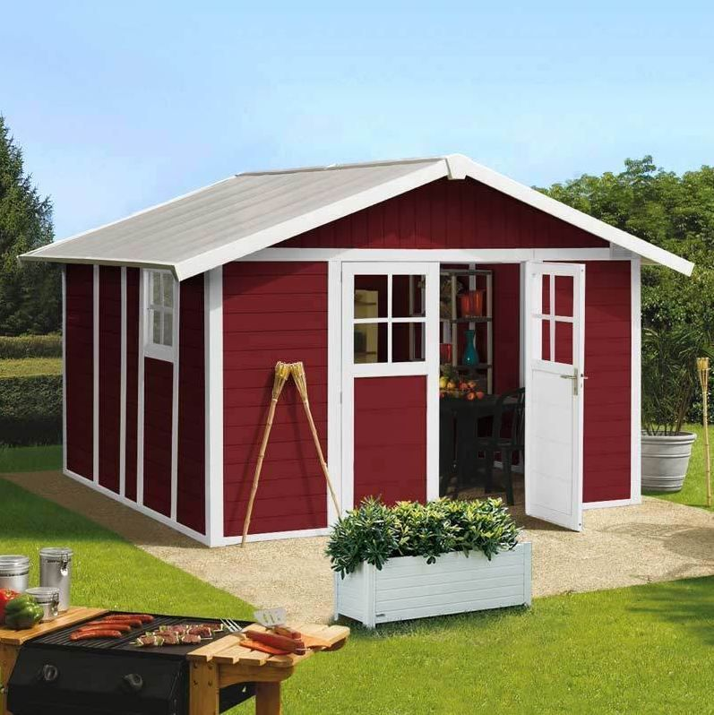Deco PVC Garden Summerhouse displayed in Burgundy. Quality