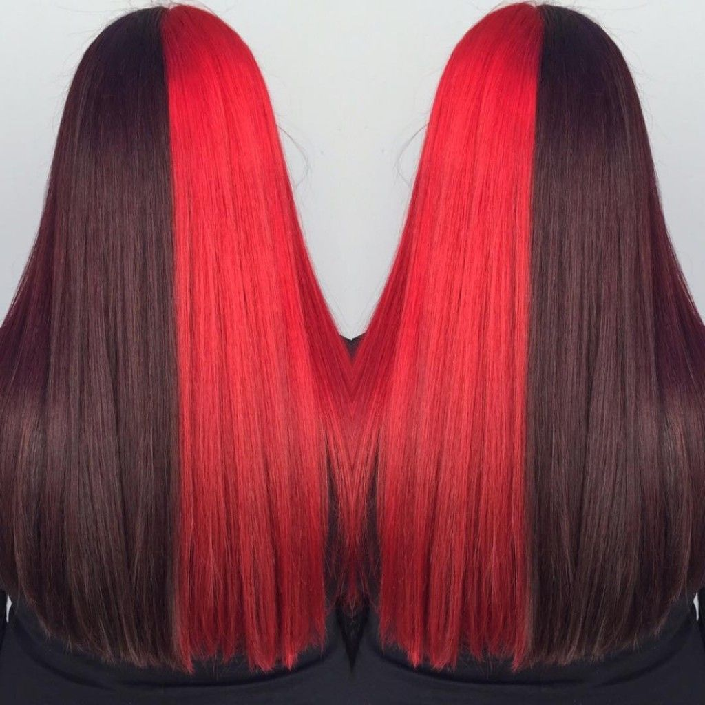 Two Toned Hair Color In Black Cherry And Red Created By Grace Two Toned Hair Cherry Hair Colors Hair Color Burgundy