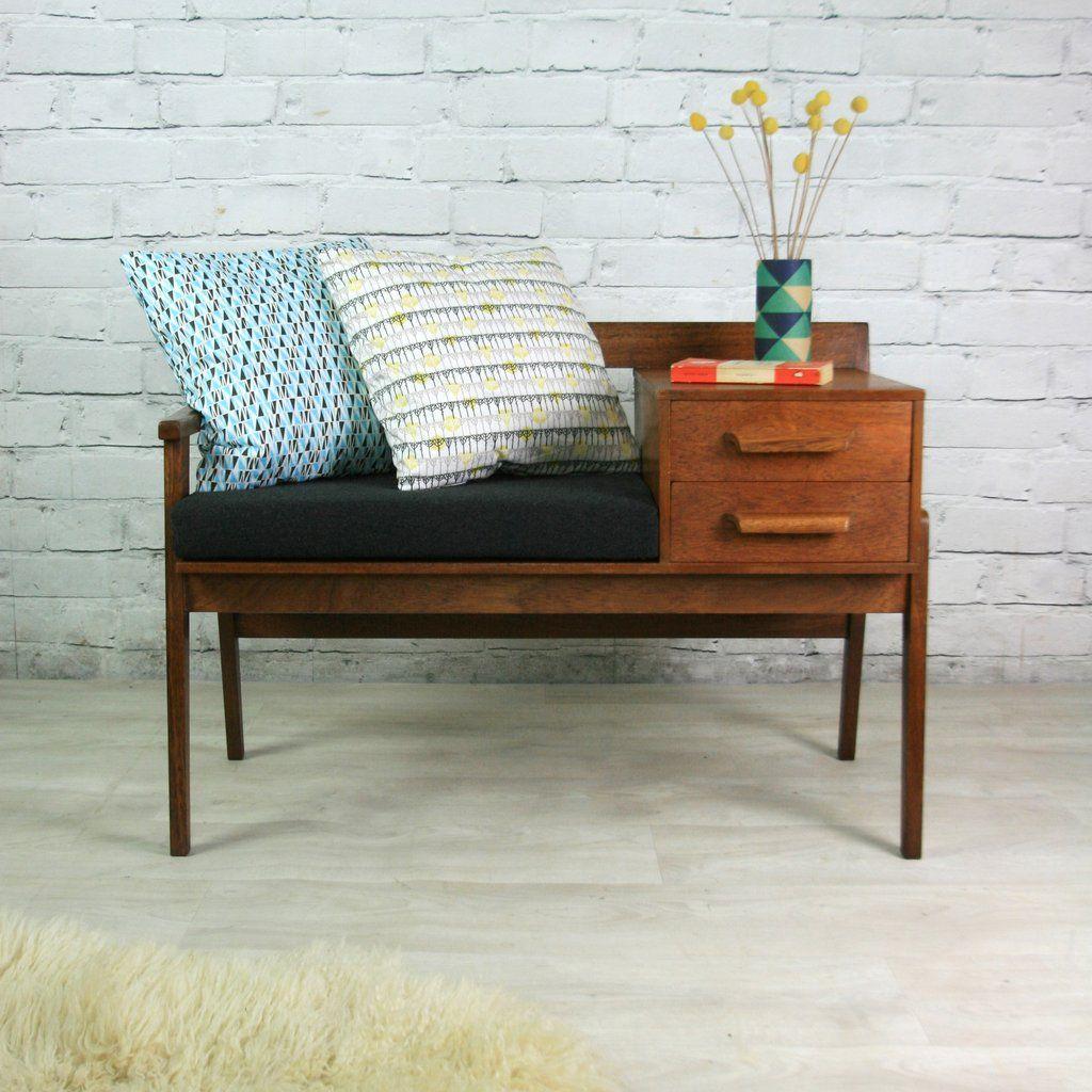 Vintage Teak 1960s Telephone Seat Hallway Designs Vintage Telephone Table Mid Century Modern Furniture