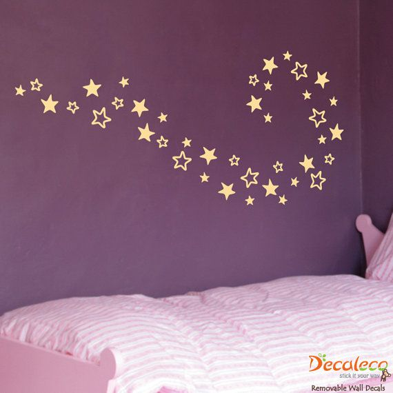free shipping set of 40 stars wall decal galaxy star decals celestial space wall - Star Wall Decor