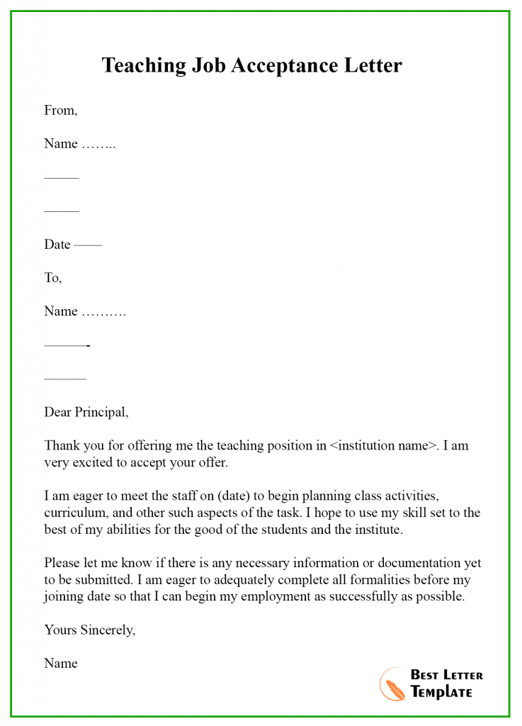 Job Acceptance Letter Template Format, Sample & Example