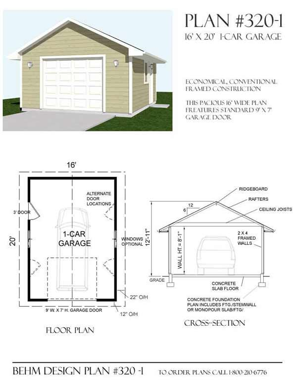 1 car garage plan by behm design 16 39 x 20 39 garage plans for 4 car carport plans
